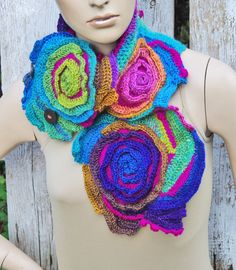 Crochet Scarf Roses Unique Capelet Neck Warmer by Degra2 on Etsy