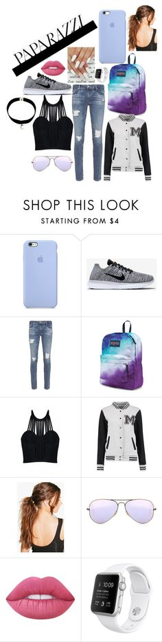 """Paparazzi"" by hipopaws on Polyvore featuring NIKE, AG Adriano Goldschmied, JanSport, Posh Girl, Boohoo, Ray-Ban and Lime Crime"