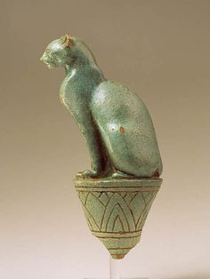 Egyptian Glazed Terracotta  Cat Statue on Stand. Ptolemaic, (Ca, 304-30 BCE Possibly Saïte, 26th Dynasty, 664-525 BCE.)  20.35cm.
