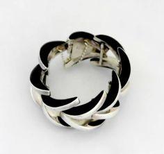 Los Ballesteros Sterling Silver & Onyx Modernist Bracelet | From a unique collection of vintage link bracelets at http://www.1stdibs.com/jewelry/bracelets/link-bracelets/
