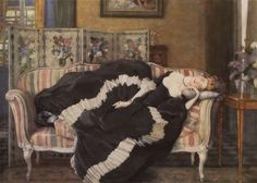 Константин Сомов «Спящая молодая женщина» コンスタンチン・ソーモフ『横たわる若い女』(1909)