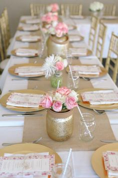 Gold vases with burlap runner and gold chargers.