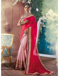 Pink and Light Pink Georgette Saree with Zari Work