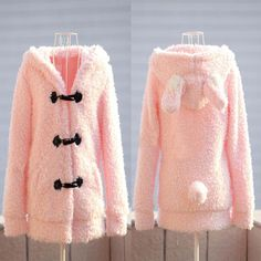 Lady Chic Long Sleeve Cute Hoodie Casual Coat Outerwear Bunny Rabbit Ears Jacket | eBay