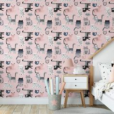 Pretty Kitties Removable Animal Wallpaper, Cute Cats Wall Cling, Feline Peel and Stick, Modern Home Decor, Playful Pussycats Wall Mural - Smooth Wall Decal / 1 roll: 24W x 132H