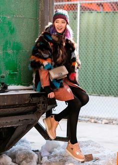 Colorful fur and as tells platforms. NYC #IreneKim