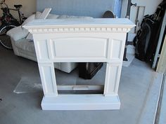 DIY Faux Fireplace   The fireplace was dirty & almost a yellowish color. I swear I thought ...