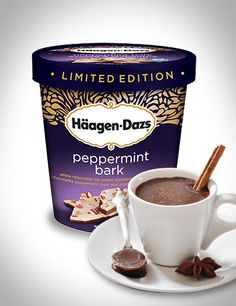 Hot chocolate and a scoop of Häagen-Dazs Peppermint Bark ice cream. The perfect reason to snuggle up next to a fire. #Recipe #Dessert #IceCream