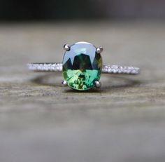 Green Sapphire Diamond Ring 14k white gold by EidelPrecious
