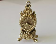 Large 9ct Gold Clock With Moving Hands Charm by TrueVintageCharms on Etsy