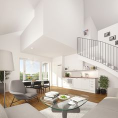 Kaksikerroksisen kodin keittiö Helsingin Umbrassa (visualisointi) / Visualization of a the kitchen of a two-story home in Helsingin Umbra Two Story Homes, Second Story, Helsinki, Lifestyle, Kitchen, Cooking, Kitchens, Two Story Houses, Cucina