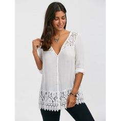 Lace Trim Button Up Tunic Blouse - 2XL 2XL