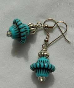 Handmade Earrings Blue Lantern Style with Silver Accent Beads #Handmade #DropDangle 2014 Sold