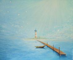 Купить Маяк в синем море - бирюзовый, морская тема, морская волна, картина в подарок, картина