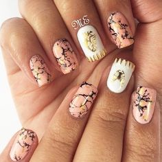 They call it oink marble but to me it looks more like camo! Cute Nails, My Nails, Girly Things, Nail Designs, Nail Polish, Peach, Make Up, Nail Art, Marble