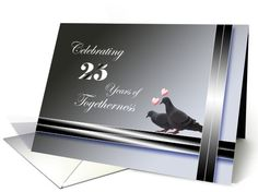 25th Wedding Anniversary Invitation-Pigeons card