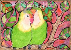 ACEO TW JUN Original Tropical Love Birds Tree Sunset Pink Drawing DEBBIE HART #Whimsical