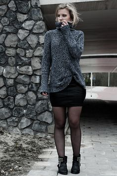 H&M Knitted Turtleneck Sweater, Loavies Faux Leather Bodycon Skirt, Sacha Low Black Studded Leather Biker Boots