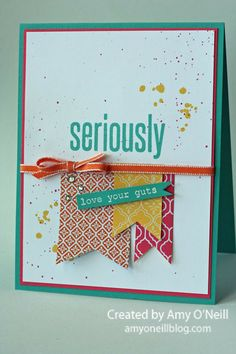 Stamps:  Seriously and Hey There (both from My Paper Pumpkin),  Ink:  Bermuda Bay, Daffodil Delight, Melon Mambo  Paper:  Bermuda Bay, Strawberry Slush, Whisper White, Quatrefancy dsp  Embellishments:  Pumpkin Pie 1/8″ Taffeta Ribbon, White Stampin' Emboss Powder, Rhinestone Basic Jewels, Color Spritzer Tool
