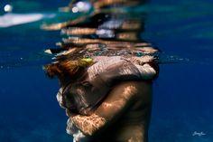 hugging underwater