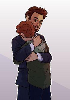 Peter finally got his hug! Art by @taterdraws