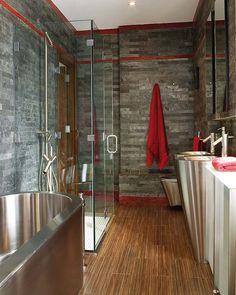 salle de bain ardoise bois et mtal - Salle De Bain Teck Et Ardoise