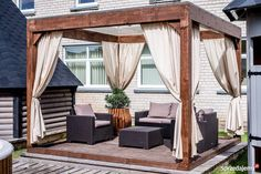Deck With Pergola, Outdoor Pergola, Outdoor Rooms, Outdoor Living, Outdoor Decor, Hot Tub Patio, Pool House Designs, Patio Blinds, Diy Terrasse