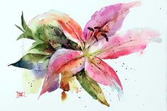 STARGAZER LILY Floral Watercolor Painting by Dean Crouser by DeanCrouserArt on Etsy