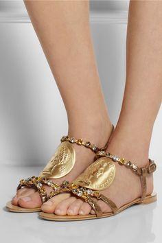 Dolce & Gabbana|Embellished ayers sandals|NET-A-PORTER.COM