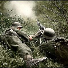 the_ww2_archives Two Gebirgsjägers (mountain infantry) manning an MG-34 machine gun.  An entire corps was formed in Norway by 1941. Its divisions were lightly equipped, with much of the transport provided by mules. These mountain infantry were equipped with fewer automatic weapons than regular infantry, however the MG 34 or MG 42 machine gunners were provided with more ammunition than their regular infantry counterparts.  These units were trained not only as light infantry. Their training…