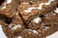 Homemade Vegan Superfood Bars from No Meat Athlete - beans, dates, agave, applesauce, nut butter, hemp protein, chia seeds, flaxseed, almonds, millet, etc