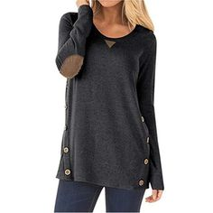 online shopping for JOELLYUS Loose Button Sweatshirt Tunic Blouse Tops For Women Long Sleeve from top store. See new offer for JOELLYUS Loose Button Sweatshirt Tunic Blouse Tops For Women Long Sleeve Shirt Bluse, Tunic Shirt, Tunic Tops, Tunic Sweater, Shirt Dress, Blouse Outfit, Long Sleeve Tunic, Long Sleeve Tops, Long Sleeve Shirts