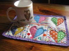 Funky Half-Heart mug rug in bright colors by RachaelsCrazyScraps