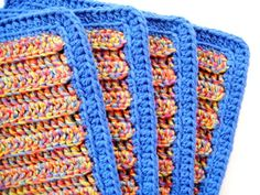 Soft Natural Dish Cloths Crocheted Bright Blue by CozyKitchenKnits, $15.00