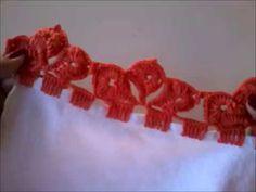 Como fazer bico de crochê || barradinho em pano de prato - YouTube
