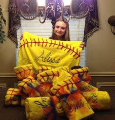 Softball towels... could do this with soccer too