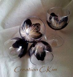 4 verres boules à pied FLORA Noirs éclats dorés peints main C.Kim