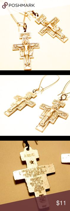 Gothic Crucifix Long Silver Earrings Dangly Goth 3.75 inch dangly crucifix earrings are relatively light in weight. Antiqued Silver keepsakes from monastic catholic organization. Detailed Savior and Cross with Latin prayer on reverse side. New deadstock from BudgetLuxuries. Hypoallergenic ear wires in antique silver. Will be adding some similar pieces to the ol closet shortly... BudgetLuxuries Jewelry Earrings