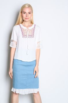 Crochet Sleeve Embdroidered Top (White) SGD$ 28.00