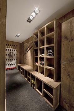 Entranceway formal for Les Bois chalet Chalet Design, Chalet Interior, Interior Exterior, Luxury Interior, Interior Design, Drying Room, Chalet Chic, Ski Chalet Decor, Gun Rooms
