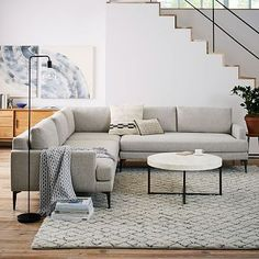 Andes L-Shaped Sectional - Stone (Twill) #westelm