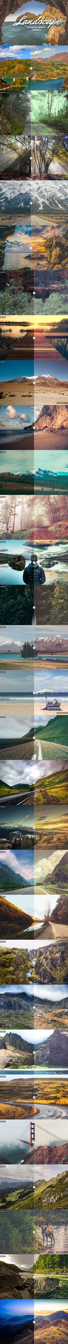 30 Free Landscape Lightroom Presets Ver. 2 in this pack we created new cool effects to give beginners and professional photographers a stunning, unique effects. via @creativetacos