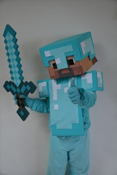 Minecraft Steve in Diamond Armor DIY costume