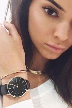 Kendall Jenner wearing Daniel Wellington Sheffield Watch and Daniel Wellington Classic Cuff