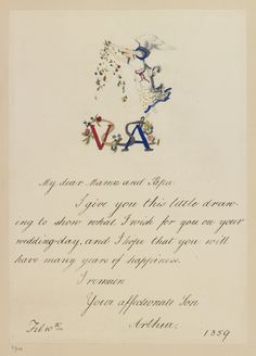 Card for the wedding anniversay of Queen Victoria and Prince Albert dated 10 Feb 1859. by Prince Arthur, 1st Duke of Connaught, 3rd son of Queen Victoria (1850-1942)