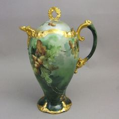 Limoges Hand Painted Chocolate Pot from greencountry on Ruby Lane