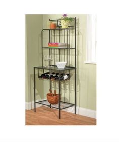 Sturdy Baker's Rack With Four Shelves Stylish Kitchen Furniture Black Finish New