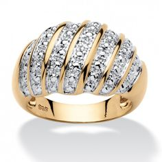 Diamond Accent Dome Ring in 14k Gold Over Sterling Silver at Viomart.com