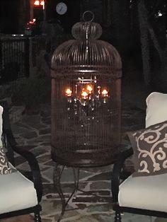 Chandelier inside a birdcage