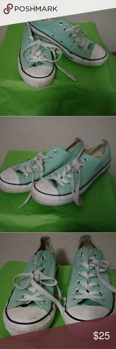 Mint Green Converse Worn a few times. They have some spots on the toe of the shoe but can be washed off Converse Shoes Sneakers